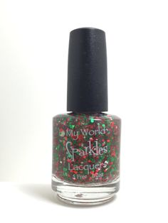 Alpha Chi Omega, Clear base w/ red and green glitters, by My World Sparkles Lacquers - Handmade 5-Free Indie nail polish - Full size 1/2 oz by MyWorldSparklesStore on Etsy
