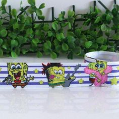 """Spongebob Squarepants Cartoon 1/"""" Wide Repeat Ribbon Sold in Yard Lots"""