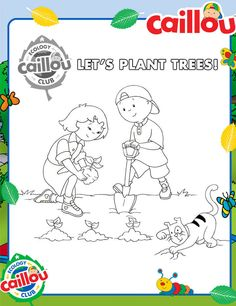 Caillou Earth Month: Planting Together Coloring Sheet