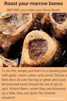 Saving Dinner is part of Beef bone broth By Leanne Ely Animal bones, including beef knuckles, chicken carcasses and ham hocks, are absolutely worth saving and cooking with If you're s - Cooker Recipes, Beef Recipes, Soup Recipes, Healthy Recipes, Leaky Gut, Beef Bone Broth, Bone Broth Crockpot, Bone Marrow Broth, Dessert