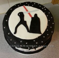 Star Wars cake. Luke Skywalker & Darth Vader silhouettes. Light saber duel. Black & White