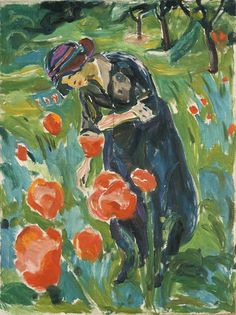 'Kvinne med valmuer' (Woman with Poppies) by Edvard Munch, 1918-19