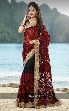 5824ca78bef54 ipdeer™ Black Designer Latest Indian Wedding saree in net