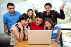 Image result for gathered around the laptop