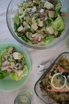 Potato Salad wth butter lettuce and herbed salmon