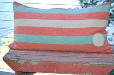 Vintage Upcycled Long Hudson Bay Wool Seafoam Green, Pink & Cream Striped Blanket by StockingsEtc, $125.00