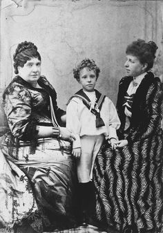 Queen Isabel II with her daughter-in-law Queen Regent María Cristina and her grandson King Alfonso XIII circa 1895.