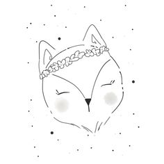 Black and White whimsical fox illustration with a flower wreath, animal illustrations, line art, line drawings, woodland creatures • #linedrawing #childrenillustrator #childrenbookillustration #woodlandcreature