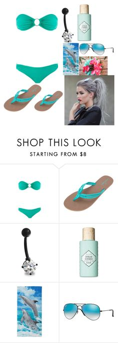 """Swimming"" by hannahsocha1331 ❤ liked on Polyvore featuring Melissa Odabash, Volcom, Bling Jewelry, Benefit and Ray-Ban"