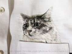 hand embroidered cat in the pocket on the white linen shirt for women Ribbon Embroidery, Embroidery Thread, Embroidery Patterns, White Linen Shirt, Japanese Embroidery, Cat People, Cat Art, Needlework, Cross Stitch