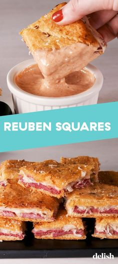 Reuben Squares Are The Even Better Version Of Your Fav Sandwich – Ye İç – Yemek tarifleri Finger Food Appetizers, Appetizer Recipes, Dessert Recipes, Delicious Appetizers, Holiday Appetizers, Recipes Dinner, Good Food, Yummy Food, Tasty