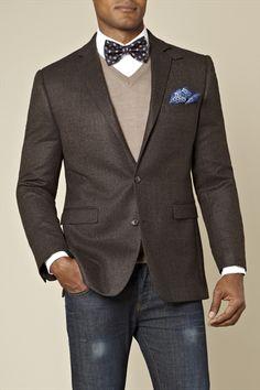 Blazer Tailored Fit Windowpane Jacket Dark Brown