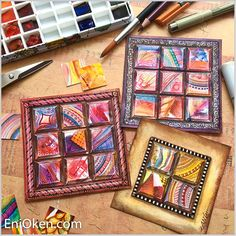 Learn how to repurpose your discarded and unfinished art, creating beautifully dimensional Inchie Mosaics. Tangle Doodle, Mosaic Crafts, Zentangle Patterns, Altered Books, Sketchbooks, Scrapbooks, Tangled, Mosaics, Art Lessons