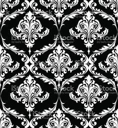 흑백 빈티지 다마스크 패턴 royalty-free 일러스트