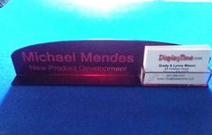 Personalized Acrylic Glass NAME PLATE BAR Desk with Business Card Holder Domed