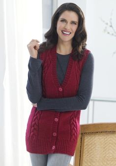Long Cabled Vest in Red Heart Super Saver Economy Solids - LW2477. Discover more…