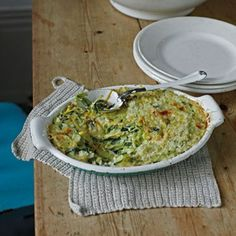 Discover Elizabeth David's courgette recipe on HOUSE - design, food and travel by House & Garden. A delicious dish to serve bubbling, straight from the oven. Veg Recipes, Side Dish Recipes, Easy Healthy Recipes, Great Recipes, Vegetarian Recipes, Easy Meals, Cooking Recipes, Rice Dishes, Tasty Dishes