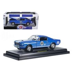 1965 Ford Shelby Mustang GT350R Guardsman Blue w/Wimbledon White Stripes #89 Carroll Shelby Tribute Car 1/24 Diecast Model Car by M2 Machines
