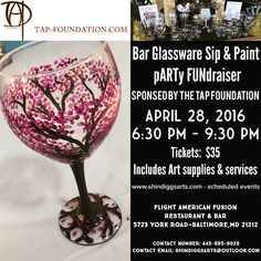 "Join us for a Sip and Paint FUNdraiser with The T.A.P. Foundation!! ""Where Dreams Are Drummed Into Reality"" -  Start your weekend early, unwind and relax while painting bar glassware and raising money for an excellent cause.  TICKETS ARE $35.00 FOR ADVANCE SALES AND $40.00 AT THE DOOR.  ABOUT THE T.A.P. Foundation ""Where Dreams are Drummed Into Reality"" - The T.A.P. Foundation was created as a result of the dream of Tyrone A. Parker, II, a young man filled with passion for drumming and…"