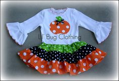 Tiered Pumpkin Polka Dots Halloween Dress - $42.00 : From Proper to Rocker, Clothing and Gifts for your childs ever changing style
