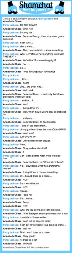 A conversation between Annabeth Chase and Percy jackson
