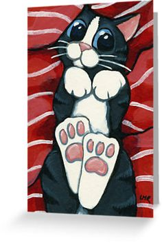 'Belly Rub Please' Greeting Card by Lisa Marie Robinson - Tuxedo cats - 'Belly Rub Please' Greeting Card by Lisa Marie Robinson Just look at those HUGE kitty feet waiting to be kissed and those big blue eyes waiting for a belly rub! Image Chat, Photo Chat, Cat Quilt, Art Et Illustration, Cat Crafts, Cat Drawing, Whimsical Art, Cat Art, Cute Cats