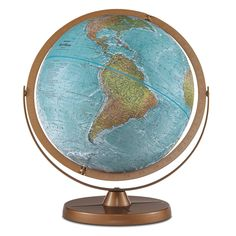 This globe features true-to-life color and realistic depictions of the Earth's surface. A metal base and hardware provide durability. Use this globe as a teaching tool with your children, or place it on your desk as a decorative element.