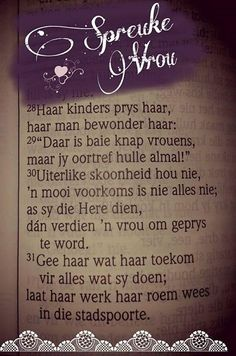 Afrikaans Biblical Quotes, Bible Verses Quotes, Prayer Quotes, Wisdom Quotes, Afrikaanse Quotes, Morning Greetings Quotes, Morning Quotes, Strong Quotes, Happy Thoughts