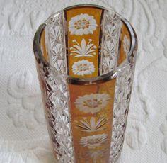 Amber Glass Cut Crystal Vase / Amber Bohemian Glass by vintagous