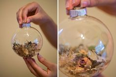 Wedding Bouquet Ornament    I can totally see some Brides dreading the idea of cutting up their bouquet, but this idea is a really cool way to revisit that day every Christmas.     One could be made with the groom's boutonniere!