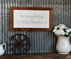 """DIY Autumn """"Give Thanks"""" painted sign - www.knickoftime.net"""