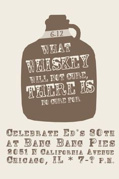 old Irish saying as 30th birthday party theme. inspiration: http://www.etsy.com/listing/74839521/what-whiskey-will-not-cure-there-is-no