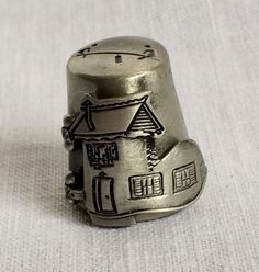 Gish Old Woman In the Shoe Pewter Thimble Opens to Reveal Children