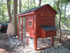 One of the best designs I've found for a simple and EASY TO CLEAN coop.  Love that the entire interior can be accessed by the hinged side (with window) that opens up all the way.  Will paint it to match our house colors and add a weathervane and window box full of flowers to finish it off.