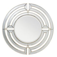 This Zoar collection decorative round mirror features a champagne silver frame surrounding the clear beveled mirror. This design creates a classic and refined showpiece that will enhance any space in your home.