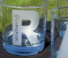 UNIQUE Groomsmen Gifts - Bachelor Party - Personalized Etched Single Initial Tumblers Rocks Glasses Title and Date INSIDE Initial 4 Glasses. $60.00, via Etsy.