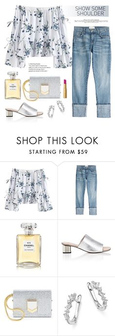 """""""Show Some Shoulder Sweet"""" by rever-de-paris ❤ liked on Polyvore featuring Current/Elliott, Chanel, Robert Clergerie, Jimmy Choo, KC Designs and Too Faced Cosmetics"""