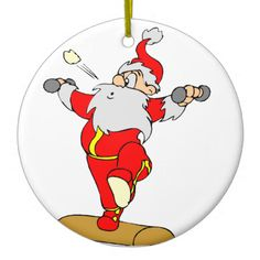 Cute Christmas tree ornaments that feature a cartoon Santa character lifting weights. These customized ornaments would make great great gifts for your work out buddies. #christmas #xmas #holiday #santa #claus #weightlifting #weight #lifting #bar #bells #cute #sports #hobby #hobbies #seasons #winter