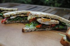 Pesto Chicken and Roasted Vegetable Sandwich