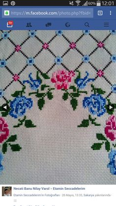 This Pin was discovered by Нео Cross Stitch Rose, Cross Stitch Flowers, Cross Stitch Designs, Cross Stitch Patterns, Bordados E Cia, Palestinian Embroidery, Swedish Weaving, Prayer Rug, Yarn Shop