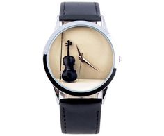 Violin Ladies Watch, Unique Womens Watches, Gifts for Musicians, Music Teacher Gift, Classical Leather Watch, Unique Gifts - Free Shipping
