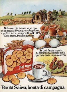 La pubblicità dei biscotti Bel Bon della Saiwa in una immagine degli anni '60 Vintage Advertising Posters, Food Advertising, Old Advertisements, Print Advertising, Vintage Posters, Vintage Soul, Vintage Italian, Vintage Ads, Retro Recipes