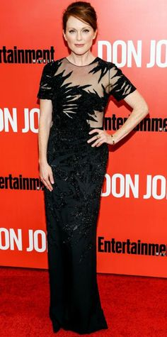 Look of the Day › September 14, 2013 WHAT SHE WORE At the Don Jon premiere, Julianne Moore stunned in a sheer and embroidered black Jason Wu column. She kept everything else to a minimum except for a gold Fred Leighton bangle.