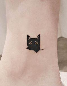 Small Black Tattoos, Black Cat Tattoos, Mini Tattoos, Cute Tattoos, Beautiful Tattoos, Body Art Tattoos, Small Cat Tattoos, Cat Eye Tattoos, Cat Outline Tattoo