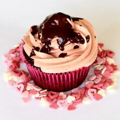 Dark chocolate cupcakes with a white chocolate Lindt truffle filling. Decadent and delicious!