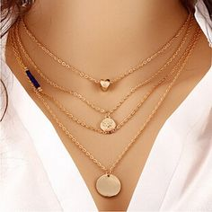 2016 Simple Fashion Jewelry Collares Gold Multi Layer Necklace Sexy Love Heart Gold Circular Sequin Bead Pendant Necklace W90