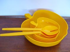 Retro Yellow Plastic Luran BASF  Apple Shaped Bowls and set Salad Spoon and Fork Vintage 70s Made in West Germany via Etsy