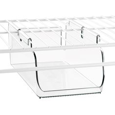 The Under Shelf Storage Bin gives you an easy way to store and organize a wide assortment of accessories on your wire shelving system. Works with Rubbermaid, ClosetMaid, and Elfa systems.