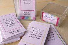 The perfect way to get women talking at girl's night, shower or party.  ChatterBox Conversation Game - Women's Edition. Printable Set. $5.95, via Etsy.