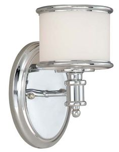 Vaxcel USA Carlisle 1 Light Transitional Wall Sconce Lighting Fixture in Chrome, Glass in Wall Lamps & Sconces. Rustic Wall Sconces, Bathroom Sconces, Bathroom Light Fixtures, Wall Fixtures, Glass Bathroom, Bathroom Vanity Lighting, Wall Sconce Lighting, Bathroom Ideas, Bath Ideas